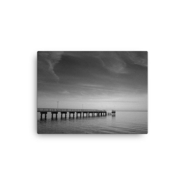End of the Pier Black and White Canvas Wall Art Prints - Coastal / Beach / Shore / Seascape Landscape Scene