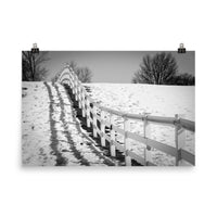 Endless Fences Black and White Photo Loose Wall Art Prints (Unframed) Rural / Farmhouse / Country Style Landscape Scene