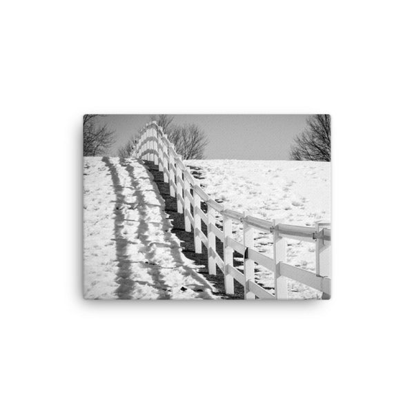Endless Fences Black and White Rural Landscape Canvas Wall Art Prints  - PIPAFINEART