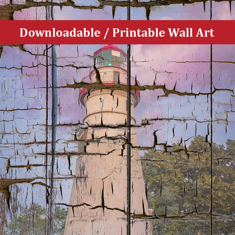 Faux Wood Texture Marblehead Lighthouse at Sunset Landscape Photo DIY Wall Decor Instant Download Print - Printable