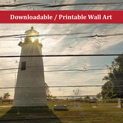 Faux Rustic Reclaimed Wood Turkey Point Lighthouse Landscape Photo DIY Wall Decor Instant Download Print - Printable