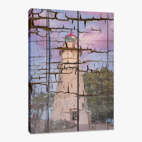 Faux Wood Texture Marblehead Lighthouse at Sunset Fine Art Canvas Wall Art Prints