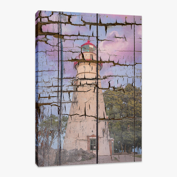 Faux Wood Texture Marblehead Lighthouse at Sunset Wall Art & Fine Art Prints - PIPAFINEART