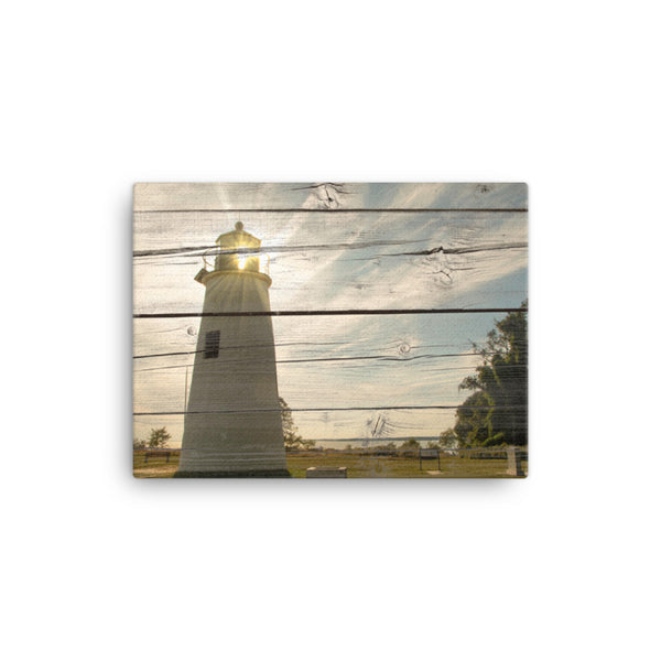 Faux Rustic Reclaimed Wood Turkey Point Lighthouse Canvas Wall Art Prints - Coastal / Beach / Shore / Seascape Landscape Scene