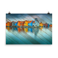 Faux Wood Blue Morning at Waters Edge Landscape Photo Loose Wall Art Prints  - PIPAFINEART