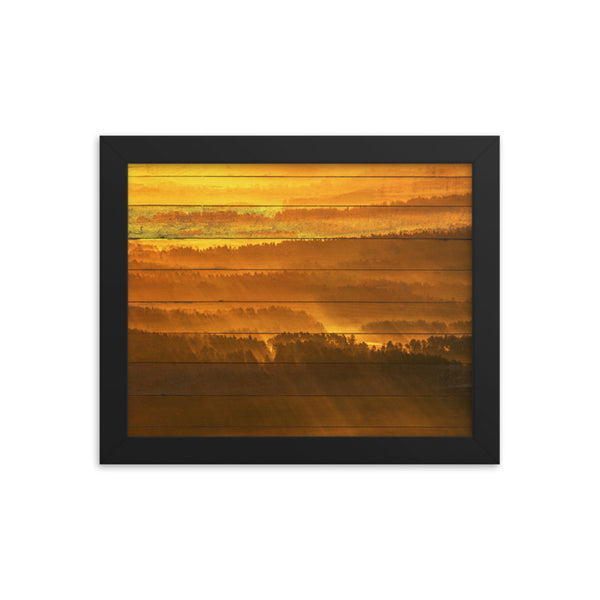 Faux Wood Golden Mist Valley - Hills & Mountain Range Framed Photo Paper Wall Art Prints - Rural / Farmhouse / Country Style Landscape Scene