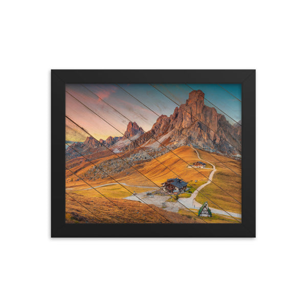 Faux Wood Majestic Sunset & Alpine Mountain Framed Photo Paper Wall Art Prints - Rural / Farmhouse / Country Style Landscape Scene