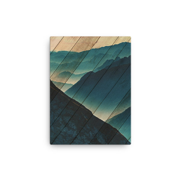 Faux Wood Misty Blue Silhouette Mountain Range Rural Landscape Canvas Wall Art Prints Rural / Farmhouse / Country Style Landscape Scene