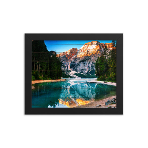 Faux Wood Misty Lake and Snow-cap Mountain Reflections Framed Photo Paper Wall Art Prints  - PIPAFINEART