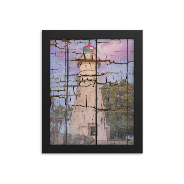 Faux Wood Texture Marblehead Lighthouse at Sunset Framed Photo Paper Wall Art Prints Coastal / Beach / Shore / Seascape Landscape Scene