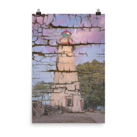 Faux Wood Texture Marblehead Lighthouse at Sunset Landscape Photo Loose Wall Art Print (Unframed) Coastal / Beach / Shore / Seascape Landscape Scene