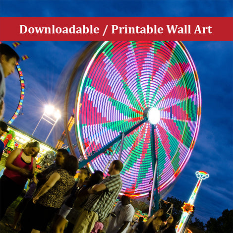 Ferris Wheel 1 Urban Night Landscape Photo DIY Wall Decor Instant Download Print - Printable