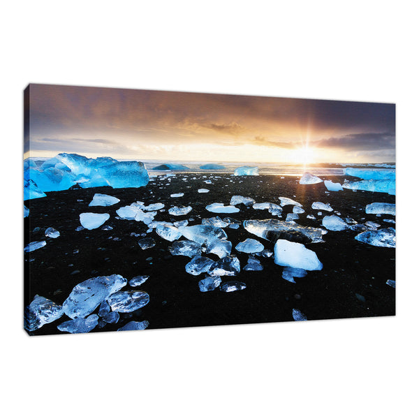 Fire and Ice Black Sand Sunset Fine Art Canvas Wall Art Prints Coastal / Beach / Shore / Seascape Landscape Scene