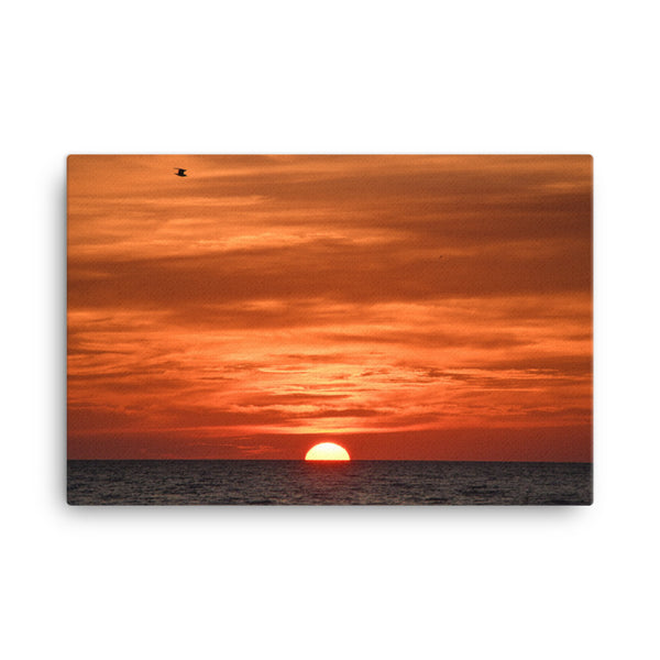 Fire in the Sky Coastal Sunset Landscape Photo Canvas Wall Art Print  - PIPAFINEART