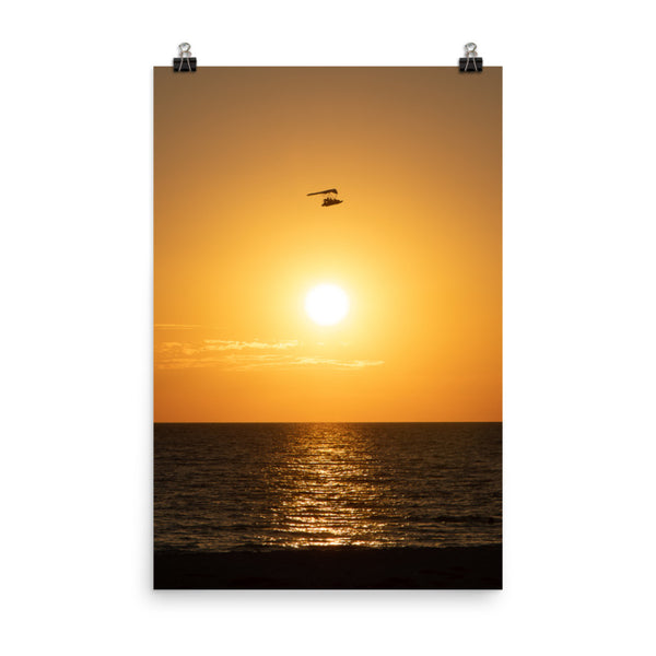 Flying High at Sunset Coastal Landscape Photo Paper Poster  - PIPAFINEART