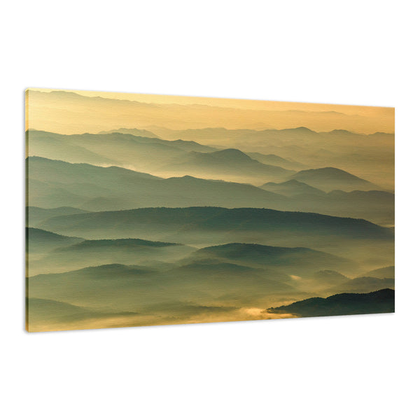 Foggy Mountain Layers at Sunset Landscape Photography Wall Art & Canvas Prints - PIPAFINEART