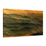 Faux Wood Foggy Mountain Layers at Sunset Landscape Fine Art Canvas Wall Art Prints - Rural / Farmhouse / Country Style Landscape Scene