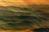 Faux Wood Foggy Mountain Layers at Sunset Landscape Wall Art & Canvas Prints - PIPAFINEART
