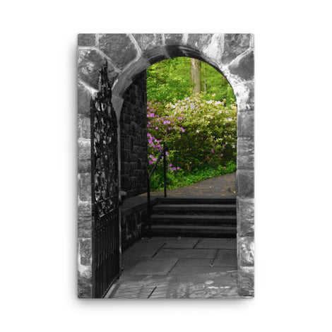Garden Entryway Black and White Floral Nature Canvas Wall Art Prints