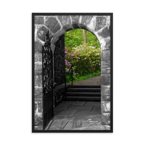 Garden Entryway Black and White Floral Nature Photo Framed Wall Art Print