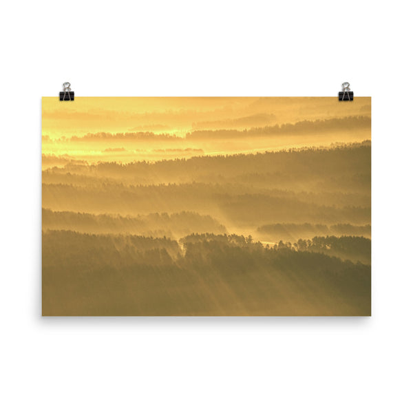 Golden Mist Valley - Hills & Mountain Range Landscape Photo Loose Wall Art Prints Rural / Farmhouse / Country Style Landscape Scene