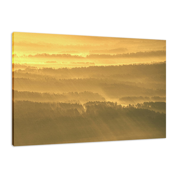Golden Mist Valley - Hills & Mountain Range Landscape Fine Art Canvas Wall Art Prints  - PIPAFINEART