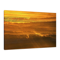Faux Wood Golden Mist Valley - Hills & Mountain Range Fine Art Canvas Wall Art Prints - Rural / Farmhouse / Country Style Landscape Scene