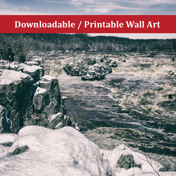 Great Falls Vintage Black and White DIY Wall Decor Instant Download Print - Printable - Rural / Farmhouse / Country Style Landscape Scene