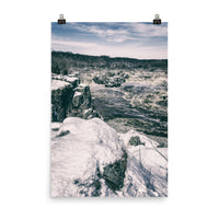 Great Falls Vintage Black and White  Landscape Photo Loose Wall Art Print  - PIPAFINEART