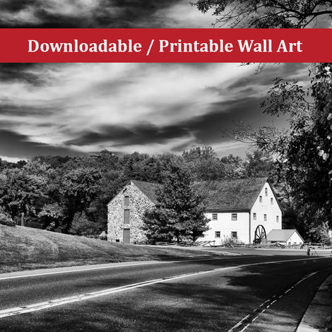 Greenbank Mill in Black and White Landscape Photo DIY Wall Decor Instant Download Print - Printable