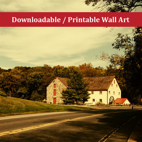 Greenbank Mill Colorized Landscape Photo DIY Wall Decor Instant Download Print - Printable