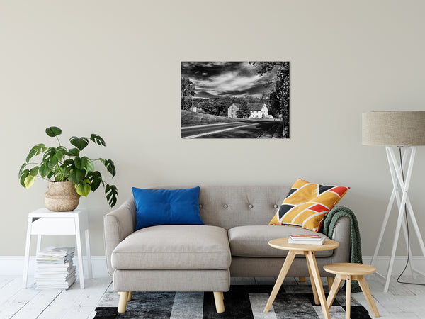 "Greenbank Mill Summer in Black and White Fine Art Canvas Wall Art Prints 24"" x 36"" - PIPAFINEART"