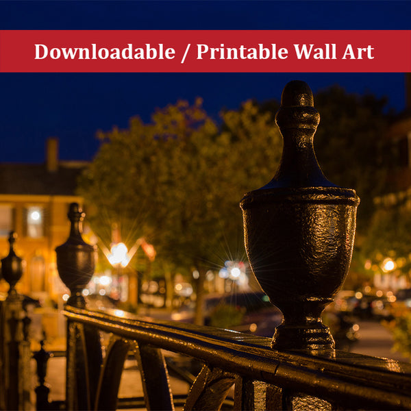Historic New Castle 4 Urban Night Landscape Photo DIY Wall Decor Instant Download Print - Printable - Living Room / Bedroom / Dining Room Wall Art Print