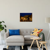 "20"" x 24"" Historic New Castle 4 Night Photo Fine Art Canvas Urban Landscape Scene - Living Room Wall Art Print"