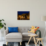 "20"" x 30"" Historic New Castle 4 Night Photo Fine Art Canvas Urban Landscape Scene - Living Room Wall Art Print"
