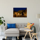 "24"" x 36"" Historic New Castle 4 Night Photo Fine Art Canvas Urban Landscape Scene - Living Room Wall Art Print"