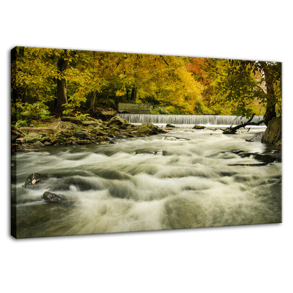 Waterfalls in the Autumn Foliage Landscape Fine Art Canvas Wall Art Prints  - PIPAFINEART