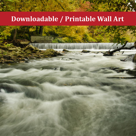 Waterfalls in the Autumn Foliage Landscape Photo DIY Wall Decor Instant Download Print - Printable