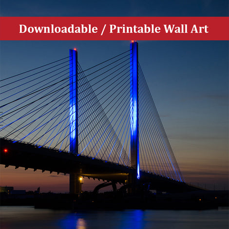 Indian River Bridge 2 Urban Night Landscape Photo DIY Wall Decor Instant Download Print - Printable