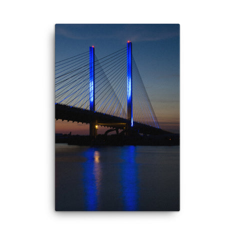 Indian River Bridge 2 Urban Landscape Traditional Canvas Wall Art Print