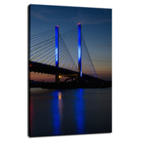 Indian River Bridge 2 Night Photo Fine Art Canvas Urban Landscape Scene - Living Room / Bedroom / Dining Room Wall Art Print