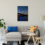 "24"" x 36"" Indian River Bridge 2 Night Photo Fine Art Canvas Urban Landscape Scene - Living Room / Bedroom / Dining Room Wall Art Print"