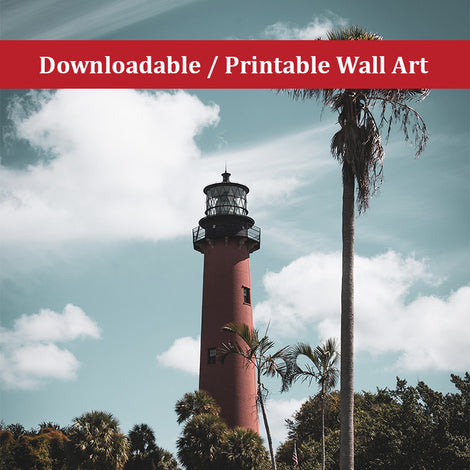 Jupiter Lighthouse Colorized Landscape Photo DIY Wall Decor Instant Download Print - Printable