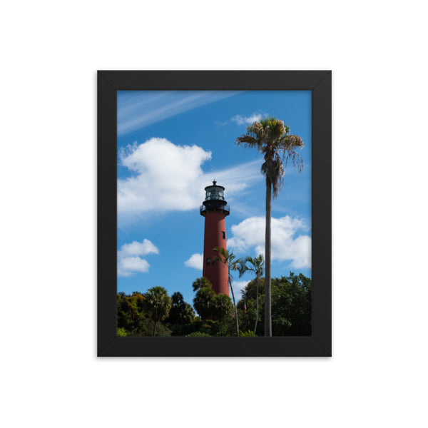 Jupiter Lighthouse Color Framed Photo Paper Coastal / Beach / Shore / Seascape Landscape Scene - Living Room / Bedroom / Dining Room Wall Art Print