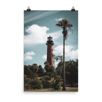 Jupiter Lighthouse Colorized Landscape Photo Loose Coastal / Beach / Shore / Seascape Landscape Scene - Living Room / Bedroom / Dining Room Wall Art Print