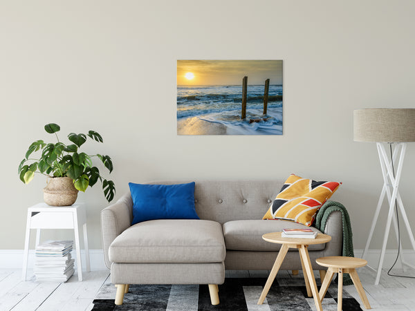 Sunrise Beach Art Landscape Photography - Kissed by the Sea - Fine Art Canvas Prints - Home Decor Unframed Wall Art Prints
