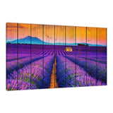 Faux Wood Lavender Fields and Sunset Landscape Fine Art Canvas Wall Art Prints  - PIPAFINEART