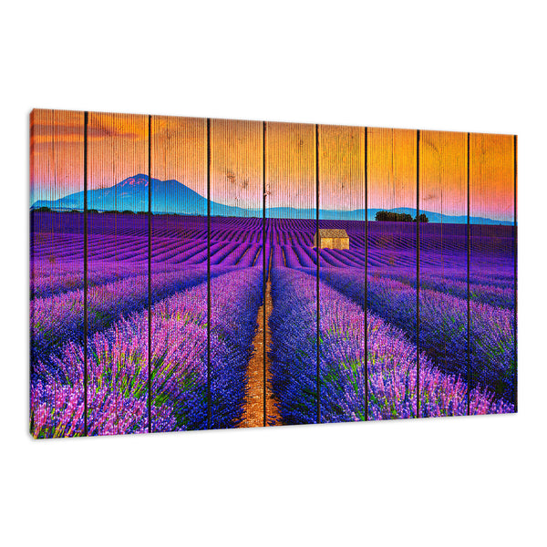 Faux Wood Lavender Fields and Sunset Landscape Photo Wall Art & Canvas Prints - PIPAFINEART