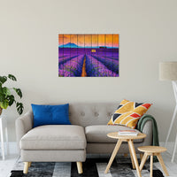 "Faux Wood Lavender Fields and Sunset Landscape Fine Art Canvas Wall Art Prints 24"" x 36"" / Canvas Fine Art - PIPAFINEART"