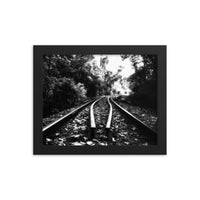 Lead Me Into The Light in Black and White Framed Photo Paper Rural / Farmhouse / Country Style Landscape Scene - Living Room Wall Art Print